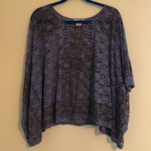 rxb sheer purple/blue, pink, & brown lace top
